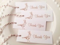 25 Bird and Crown Thank You Tags with Bakers Twine LAST SET ON SALE