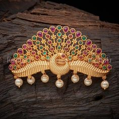 Antique Hair Brooch studded with synthetic ruby & green stones and pearl pearls! Gems Jewelry, Hair Jewelry, Pendant Jewelry, Fashion Jewelry, India Jewelry, Temple Jewellery, Gold Pendant, Jewelry Bracelets, Latest Gold Jewellery