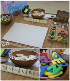 Playful learning spaces - setting up a literacy table to encourage kids to write. I love the scrabble tiles.