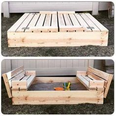 Love this sandbox design. Dig more dirt here: A lawn trick you wish you knew last year -- http://myfixituplife.com/DIY/lawn-care-trick-repair-sprig-green-grass/
