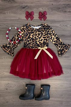 Burgundy Cheetah Tutu Dress - Sparkle In Pink Little Girl Closet, Little Girl Outfits, Cute Outfits For Kids, Baby Girl Fashion, Toddler Fashion, Fashion Kids, Kids Summer Dresses, Girls Dresses, Kids Dress Wear