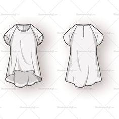Hi Low Raglan Blouse Fashion Flat Template