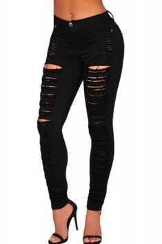 Black Destroyed Ripped Denim Jeans
