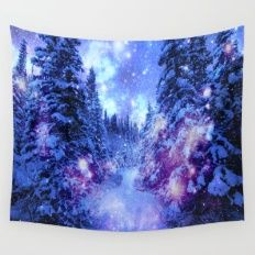 Mystical Snow Forest Wall Tapestry