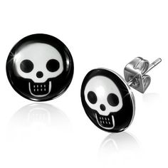 Urban HQ Stainless Steel - Mens - A Pair of Grinning Baby Pirate Skull Design Round Stud Earrings