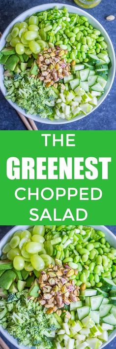 The Greenest Chopped Salad - This delicious and healthy green chopped salad is loaded with some of my favorite green fruits and veggies! It's perfect for a healthy St. Patrick's Day side dish or for any day of the week! #Vegan #GlutenFree #Salad #Healthy