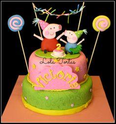 Peppa Pig cake, Peppa la cerdita. https://www.facebook.com/TortasLolaTortas