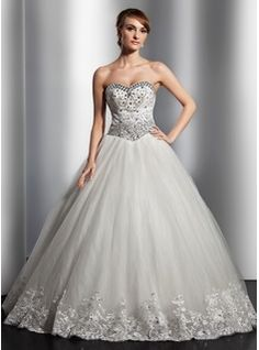 A-Line/Princess Sweetheart Floor-Length Satin Tulle Wedding Dresses With Lace Beadwork