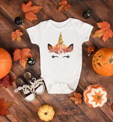 Halloween Infant Bodysuit - Fall Themed Unicorn - 6-12 Months