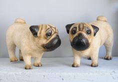 Paper mache pug dog
