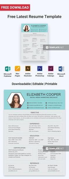 Download Social Media Specialist Resume Pics Resume Design Template, Resume Templates, Resume Form, Unique Resume, Resume Objective, Microsoft Publisher, Media Specialist, Social Media Channels, Cover Letter Template