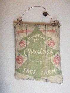 Fabric Ornament Peg Hanger Mountain Top Xmas Tree Farm Country Primitive Decor #nannysattic15 Ebay