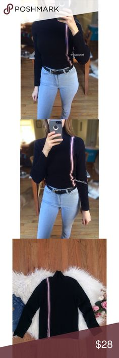 🍂 Vtg 90's Ralph Lauren Polo Stripe Turtleneck 🍂 Awesome vintage 90's turtleneck sweater by Polo Ralph Lauren! Features a true black hue with a baby pink accent stripe and logo. Soft ribbed 100% cotton knit. Slightly cropped fit makes this perfect for pairing with your favorite high waisted denim pieces! In excellent vintage condition! Marked size medium but definitely fits like a small :)  Measurements:  Length- About 21 inches   Bust- 15 inches flat across (unstretched) Vintage Sweaters…