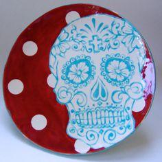 Dia de los Muertos Sugar Skull pottery Serving Plate by maryjudy