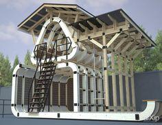 Детская игровая площадка домик: архитектура, 2 эт | 6м, модернизм, 200 - 300 м2, каркас - дерево, беседка, объекты малых форм #architecture #2fl_6m #modernism #200_300m2 #frame_wood #alcove #arbor #pavilion #bower #summerhouse #gardenhouse #kiosk #arbour #smallobjects arXip.com
