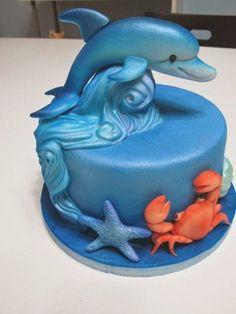 Dolphin Birthday Cakes, Dolphin Birthday Parties, Dolphin Cakes, Themed Birthday Cakes, Themed Cakes, Dolphin Food, Dolphin Party, Cupcakes, Cake Cookies