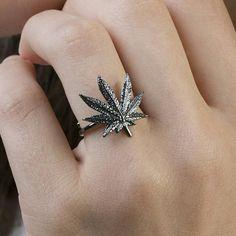 δαχτυλίδι κάνναβη, Open Ring, 925 εξαιρετικό ασήμι, Μαριχουάνα δαχτυλίδι, μαριχουάνα κοσμήματα, Βοτανικός κοσμήματα, 18K Επίχρυσο