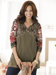 Plus Size Womens Clothing - Geo-floral Seamed Knit Tunic