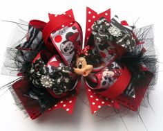 Minnie Hair Bow Boutique Mouse Head Red And Black Miss Minnie Hair Bow