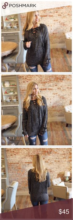 """Charcoal Blended Lace Up Sweater Charcoal Blended Lace Up Sweater  Modeling size small.   100% acrylic.   Bust laying flat: S 21"""" M 22"""" L 23""""   Length S 28"""" M 29"""" L 30"""" add to bundle to save when purchasing. IR15040929.12128 Infinity Raine Sweaters"""