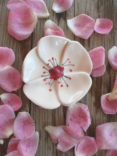 Cherry Blossom Flower,Ring Dish,Keepsake Bowl,Tea Bag Holder,Trinket Bowl,Ceramic,Wedding favor,Party Favor,Bridesmaids Gift,Gift for her
