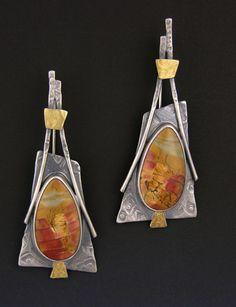 Earrings | Elaine Rader. Sterling silver, 22kt gold, Picture jasper
