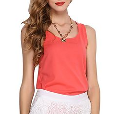 JET-BOND Casual Chiffon Tank Tops for Women FS55 Solid Color Sleeveless Tee Shirts (M, Watermelon)  Special Offer: $7.99  211 Reviews SIZE INFO : Small: – Length: 22.44 in (57 cm) – Bust: 32.68 in (83 cm) – Hem: 33.86 in (86 cm) Medium: – Length: 23.23 in (59...
