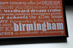 birmingham michigan 12x12 framed subway art by lexiconetc on Etsy, $35.00