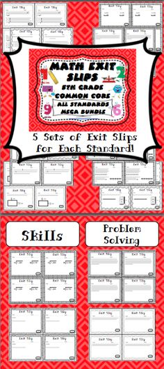 Math Exit Slips - 5th Grade Common Core All Standards $