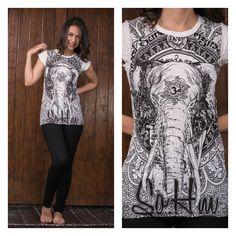 Sure Design Womens Wild Elephant T-Shirt White Boho Bohemian Yoga Gypsy Thailand Yogashirt Ganesh ganesha Yogi Hippie Hippy