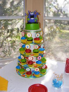 monster cupcake tower