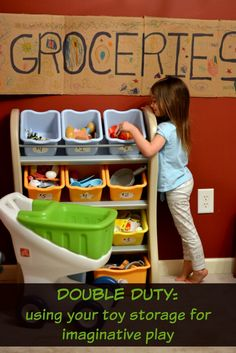 We turned our toy storage into a grocery store for kids and they LOVE it! Find out how you can do it too! Craft Projects For Kids, Activities For Kids, Preschool Ideas, Play Based Learning, Learning Through Play, Reggio Inspired Classrooms, Toy Storage Bins, Step Kids, Baby Blog