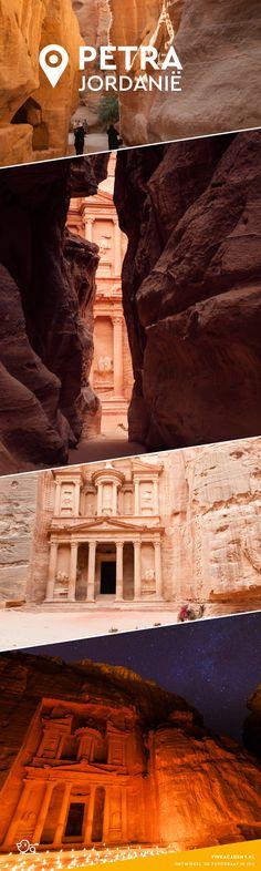 Petra in Jordanië, de beroemde schatkamer, verscholen tussen de rotsen. Hier maak je prachtige foto's!