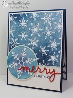 by Amy: Holly Jolly Greetings, Season of Cheer dsp, Christmas Greetings Thinlits, White Glitter Ribbon, & more - all from Stampin' Up!