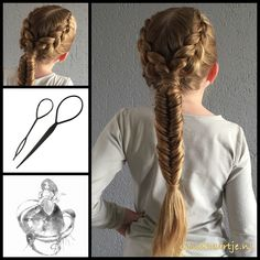 Messy dutch braids into a fishtail braid.