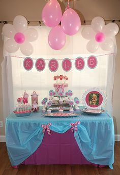 Love the balloons and table cloth