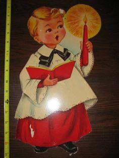 Vintage Card Board Choir Boy Wall Decor, Blonde Hair, Brown Eyed Choir Boy, Candle, Christmas Choir Boy, Religious, Catholic. $10.00, via Etsy.