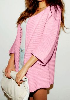 Oversize Open Front Cardigan - Pink - Sweater Featuring Outwear