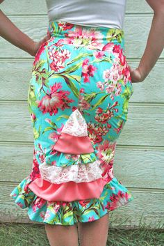Teal and Coral Ruffle Skirt by Bennair on Etsy, $58.00