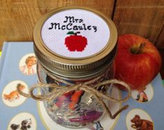 Gift for Teacher, Teacher Gift, Teacher Appreciation Gift, Personalized Teacher Gift, Mason Jar Decor, Custom Teacher Gift, Cross Stitch Art
