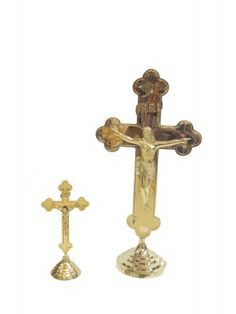 Brass Crucifixion Standing Cross
