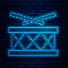 Glowing neon line Drum with drum sticks icon isolated on brick wall background. Vector Illustration - Buy this stock vector and explore similar vectors at Adobe Stock Music Signs, Brick Wall Background, Galaxy Wallpaper, Asylum, Musical Instruments, Drums, Sticks, Vectors, Adobe