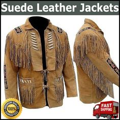 More Details = Whats app = 00923046128675....................Mens brown Suede Western Cowboy Style Leather Jacket With Fringe Bones and Beads........ This jacket is made of suede Leather Western Style with Fringe....... MAS_Group Has a Wide Range of Leather Products that will fulfill all Our Customers' Needs. We Guarantee the Satisfaction of our Products Through Quality Service, Low Prices, Best Quality, Fast & Safe Delivery. Western Cowboy, Western Style, Western Wear, Fringe Leather Jacket, Leather Jackets, Brown Suede, Suede Leather, Tan Jacket, Westerns