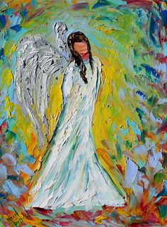 Original oil painting - Angel painting - abstract impressionism spiritual fine art by Karen Tarlton