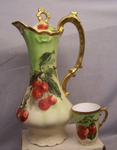 LEGRAND  LIMOGES    HAND PAINTED  CHOCOLATE POT   signed  FIBLET | eBay