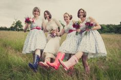 Emily and Matthew's 'Vintage Meets Rock n Roll' Welly Wearing Wedding by Kari Bellamy