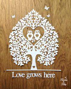 TEMPLATE - 'Love Owl Tree' (2 different designs!) Papercut Design Template DIY door TommyandTillyDesign op Etsy https://www.etsy.com/nl/listing/206389802/template-love-owl-tree-2-different