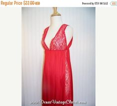 60% OFF Christmas Sale Vintage 70s Bernette Night Gown Sheer Red Lace Small
