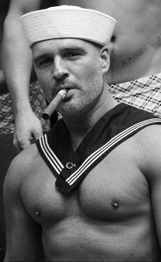Sailor with a big cigar (please follow minkshmink on pinterest) #sailor #gaysailor #hotsailor