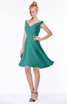 Porcelain Classic Fit-n-Flare Zip up Chiffon Knee Length Ruching Bridesmaid Dresses